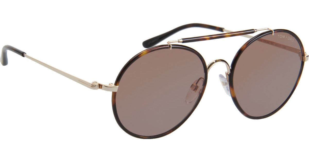 f5d10ee487 Tom Ford Samuele Round Sunglasses in Brown for Men - Lyst