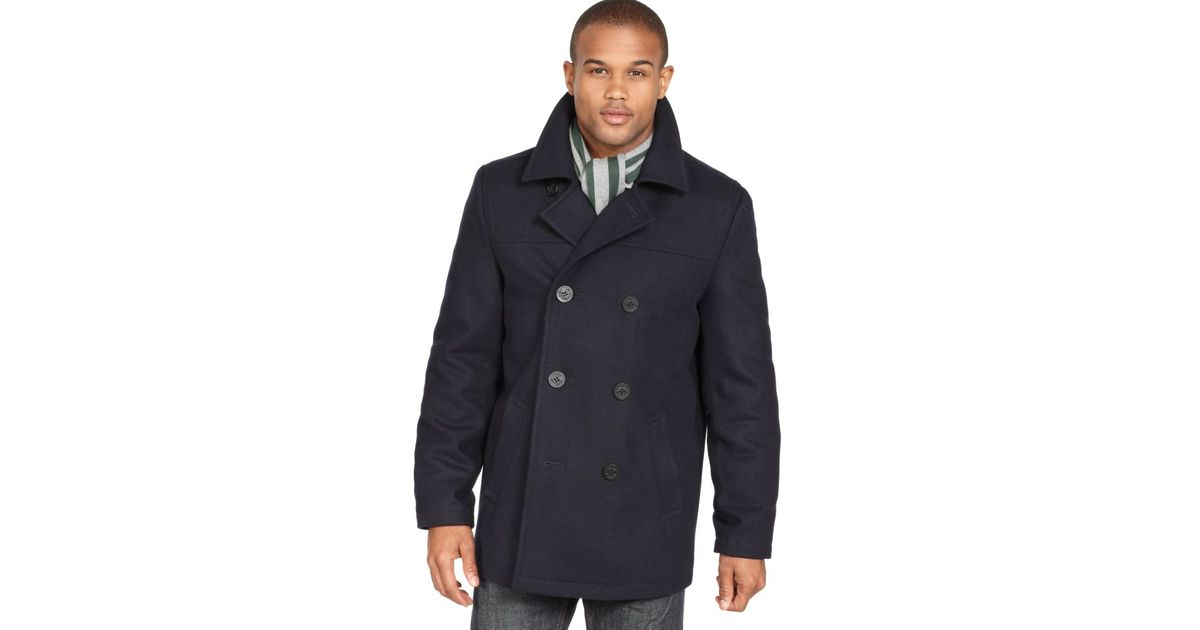Tommy Hilfiger Coat Melton Wool Blend, Tommy Hilfiger Peacoat With Scarf