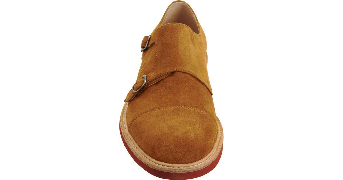 bda33bf9b88d Barneys New York Cap Toe Double Monk Shoe in Brown for Men - Lyst