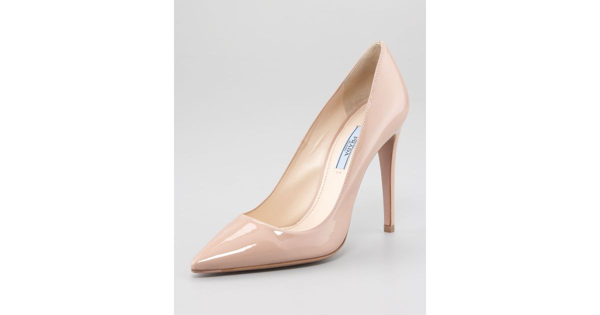 f7f98498 Prada Natural Pointed Patent Leather Pump Nude
