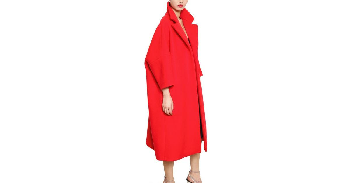 competitive price 95fef a616a Jil Sander Red Wool Cashmere Soft Melton Coat