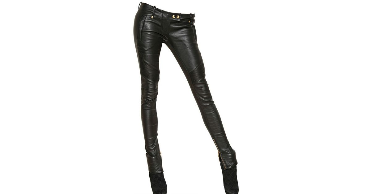 hot sales new collection pretty cool Balmain Black Soft Nappa Leather Biker Trousers