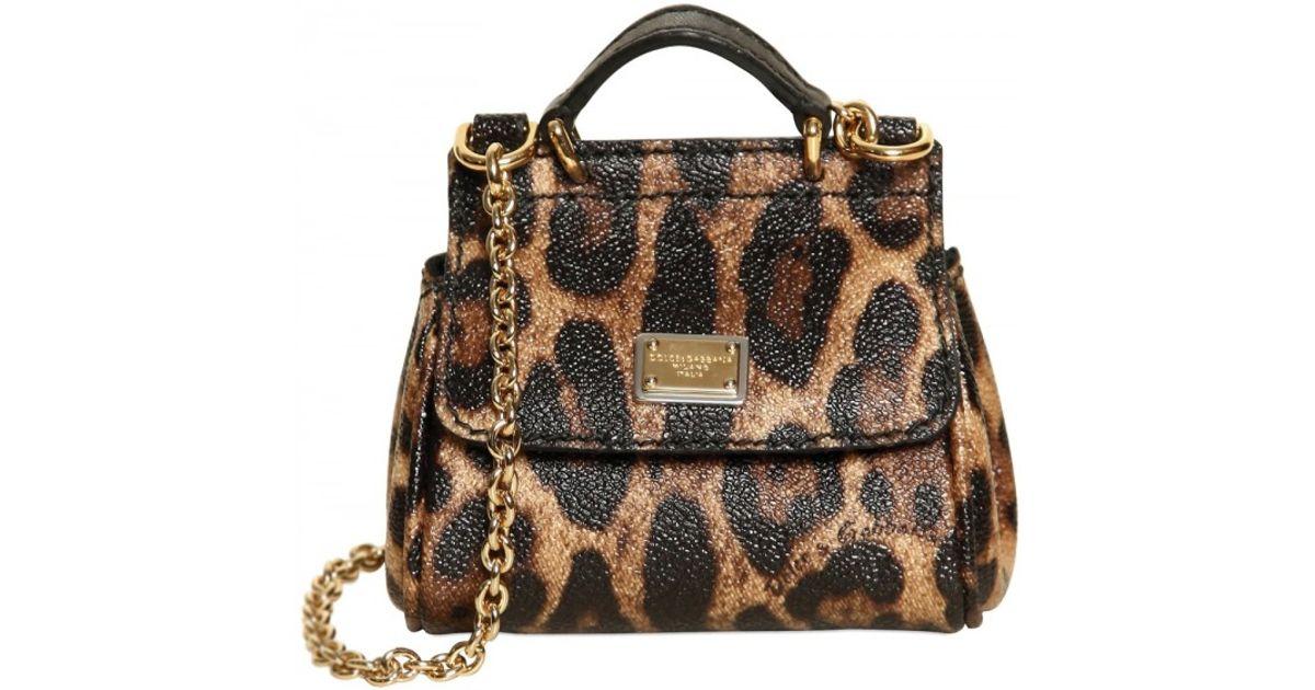 124f4468bda9 Lyst - Dolce   Gabbana Mini Miss Sicily Leopard Print Pvc Bag