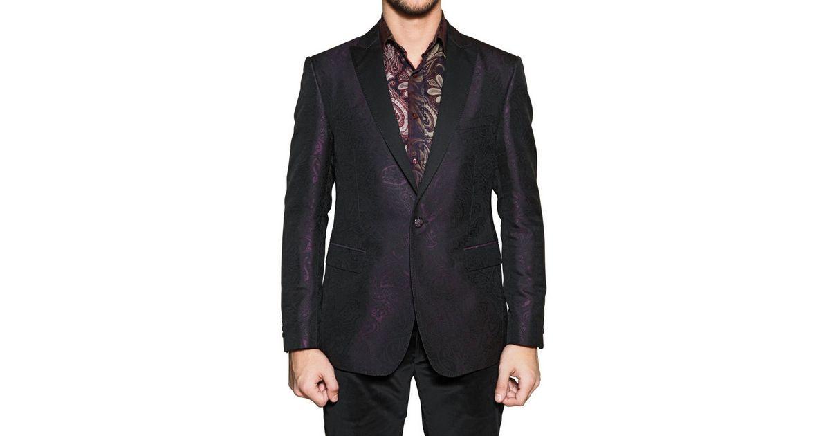 Etro Satin Revere Silk Jacquard Tuxedo Jacket In Bordeaux