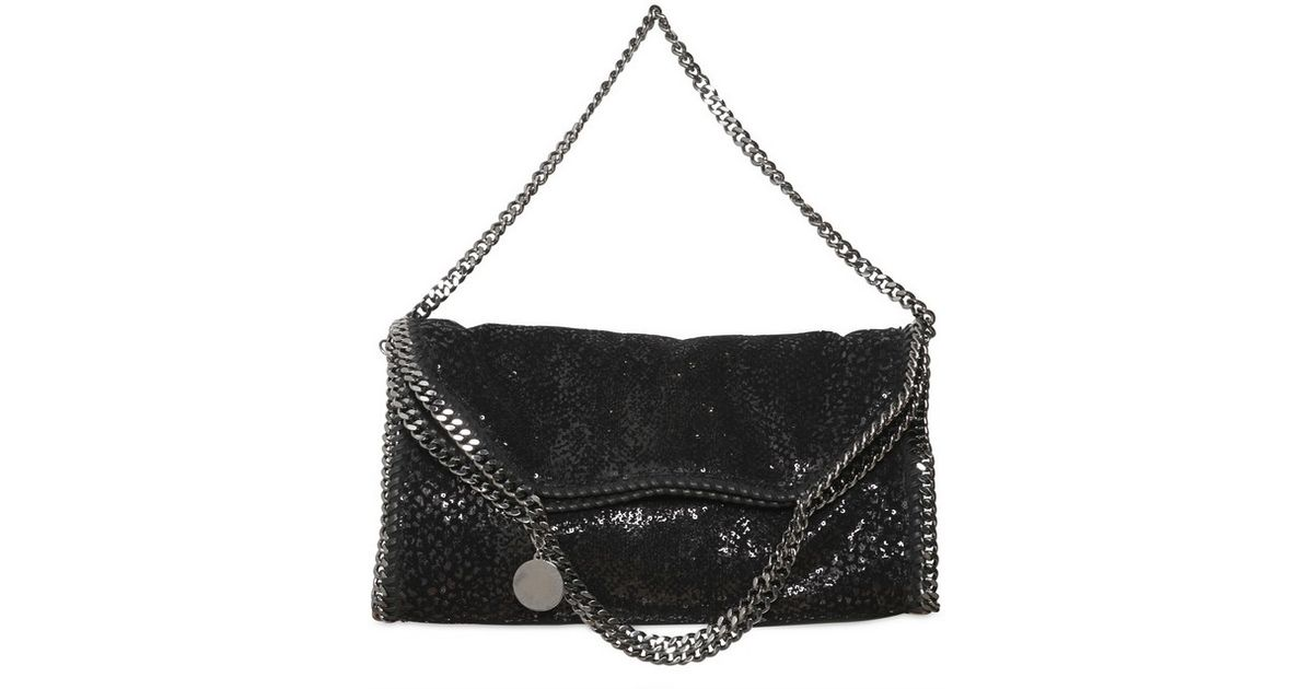 Lyst - Stella McCartney Falabella Three Chain Velvet Sequin Bag in Black 36ad91a3150e9