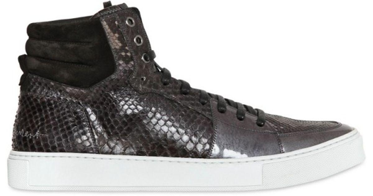 juste prix prix officiel enfant Saint Laurent Brown Malibu High Python Sneakers for men