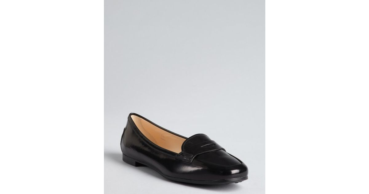f55ffee83c2 Tod S Black Shiny Leather Penny Loafer Flats in Black - Lyst