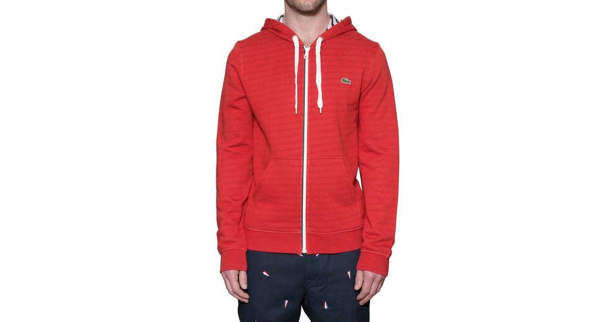 afcc823a Lacoste Red Hooded Fleece Sweatshirt for men