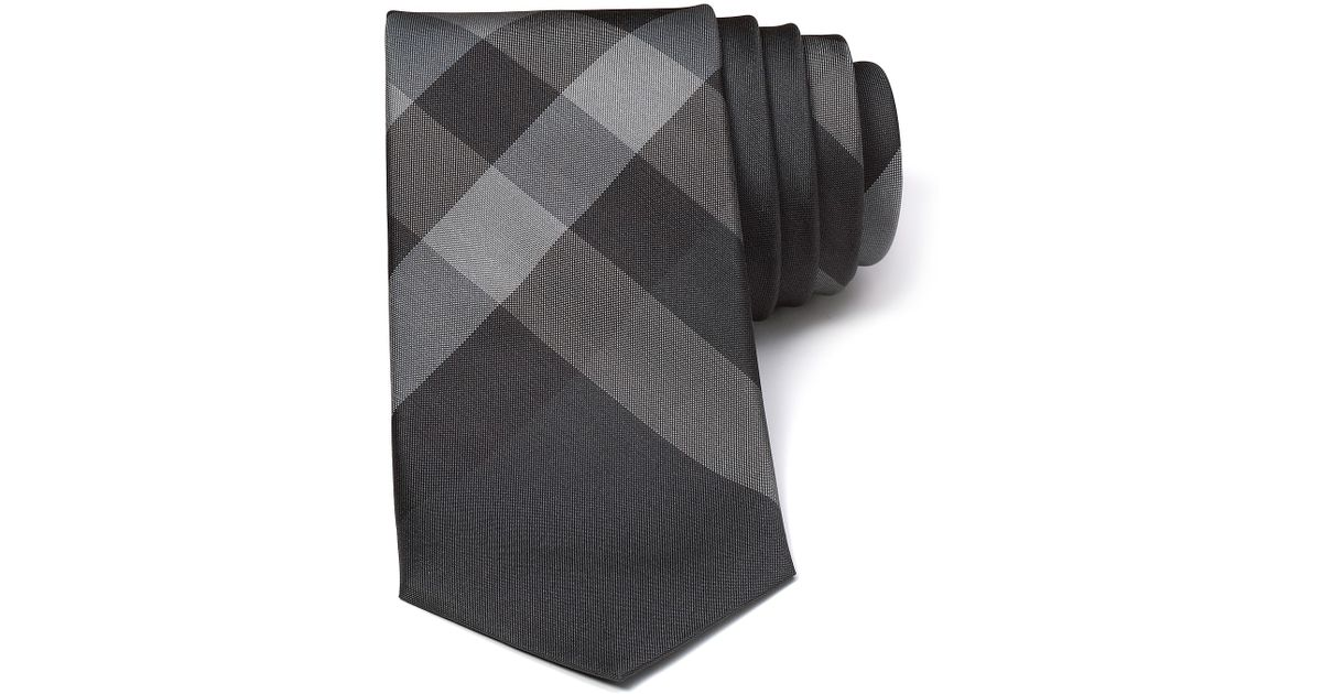 b9833883e ... canada lyst burberry london rohan woven skinny check tie in gray for men  231b5 61b53