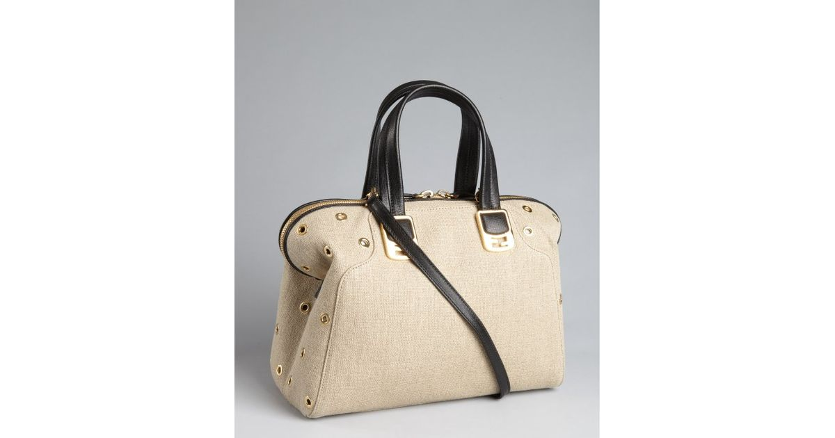 2a2250d09460 Lyst - Fendi Corda and Black Canvas Chameleon Shoulder Bag in Natural