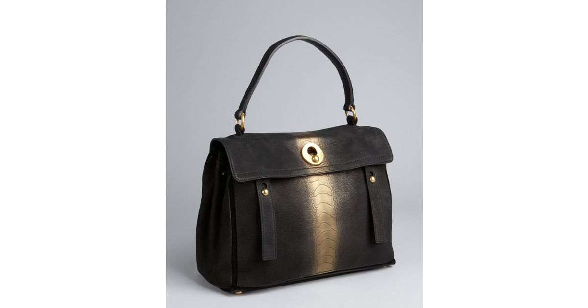 yves saint laurent handbag - yves saint laurent embossed leather muse tote, ysl black bag