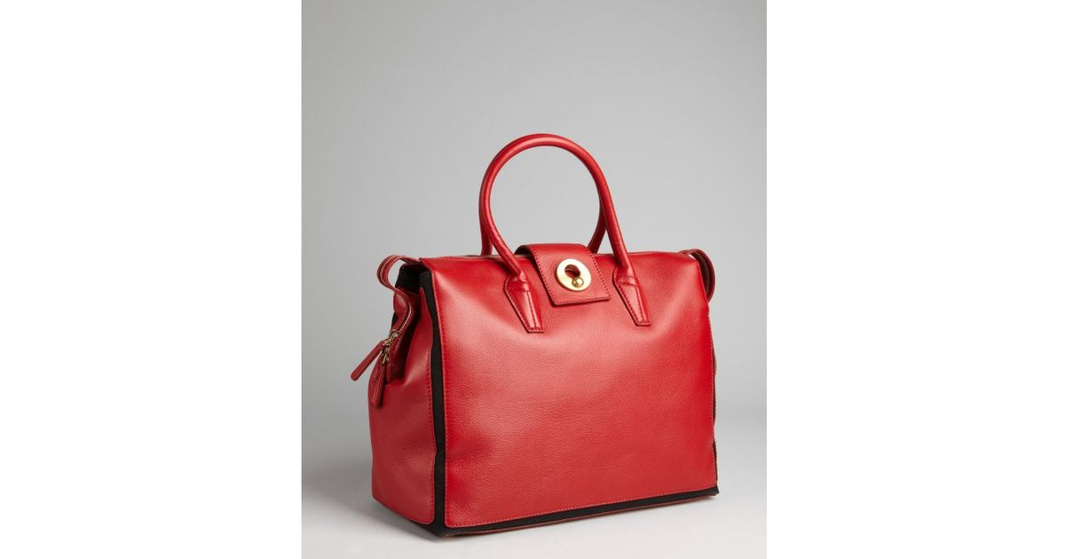Saint laurent Leather Muse Two Cabas Tote in Red (poppy) | Lyst