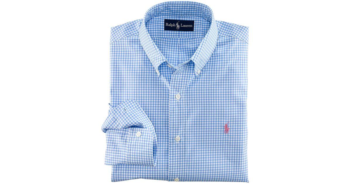 2c721564539 Polo Ralph Lauren Blue Customfit Gingham Poplin Shirt for men