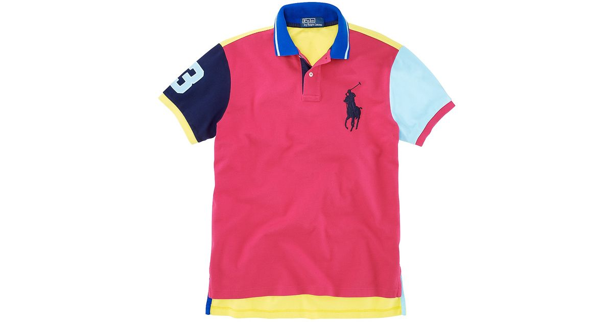 8d6df4810242 Lyst - Polo Ralph Lauren Customfit Shortsleeved Big Pony Mesh Polo in Pink  for Men