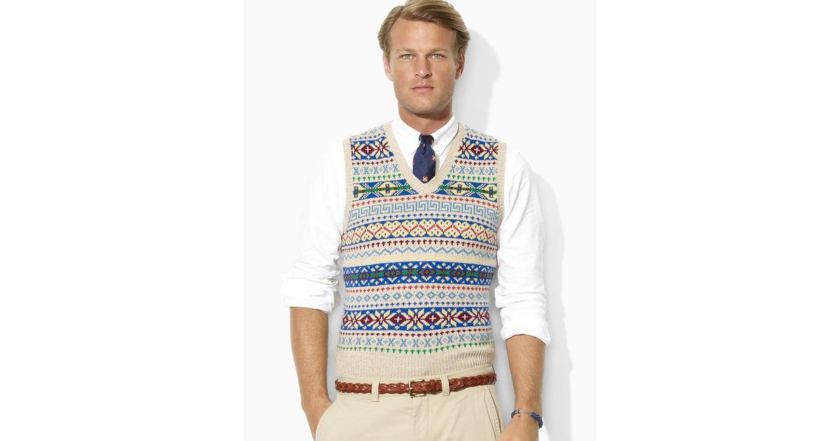 Lyst - Polo Ralph Lauren Fair Isle Vneck Sweater Vest for Men