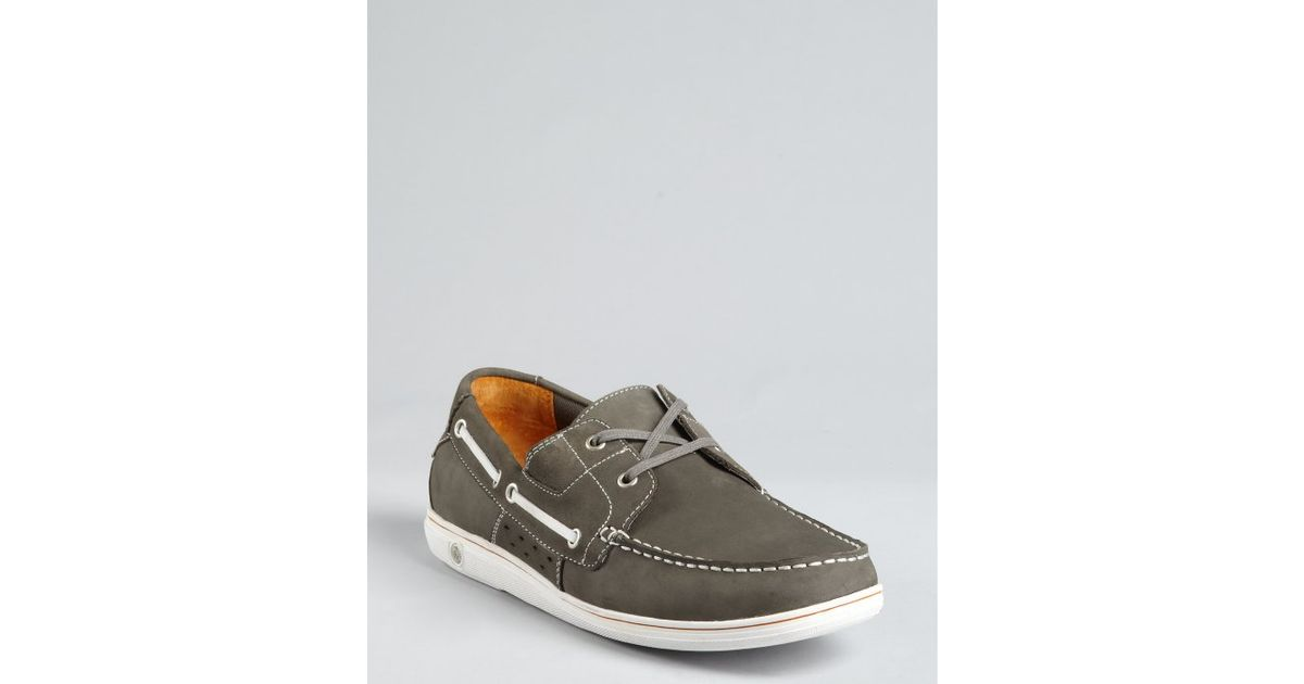 original penguin smoke grey leather skimmer boat shoes in