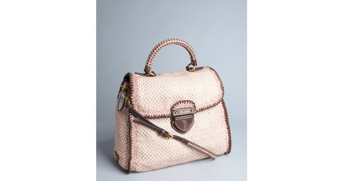 prada clutch bags - Prada Rose Pink Woven Leather Madras Satchel in Pink (rose) | Lyst