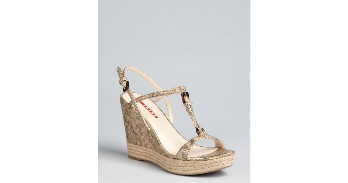 outlet cheapest price footaction online Prada Sport Embossed Leather Wedge Sandals YXYpAZ5A