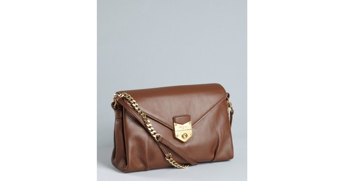 Saint laurent Chocolate Leather Sac Dandy Chain Strap Shoulder Bag ...