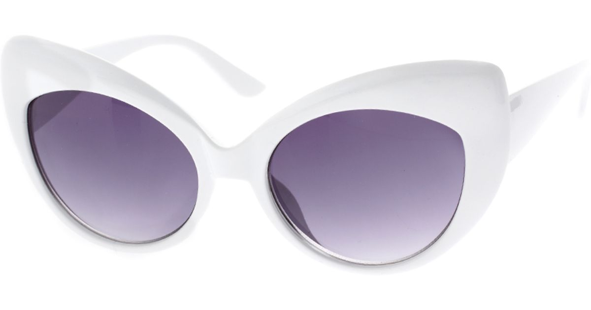 7aa49ca9c309 Lyst - ASOS Collection Oversized White Cat Eye Sunglasses in Purple