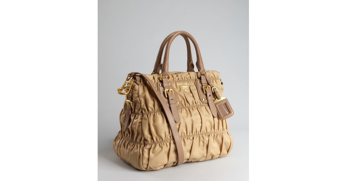 16670d0b730e ... reduced lyst prada camel nylon gauffre ruched buckle tote in natural  2b0a8 ebebf