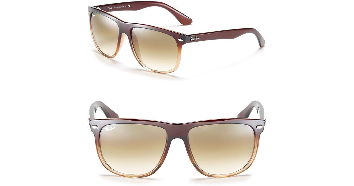 dcac67cb5d ... reduced lyst ray ban flat top boyfriend gradient sunglasses in brown  d8361 a84a1