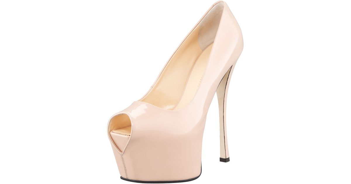 d5b2e0e9ac4 Lyst - Giuseppe Zanotti Patent Exaggerated platform Pump in Natural