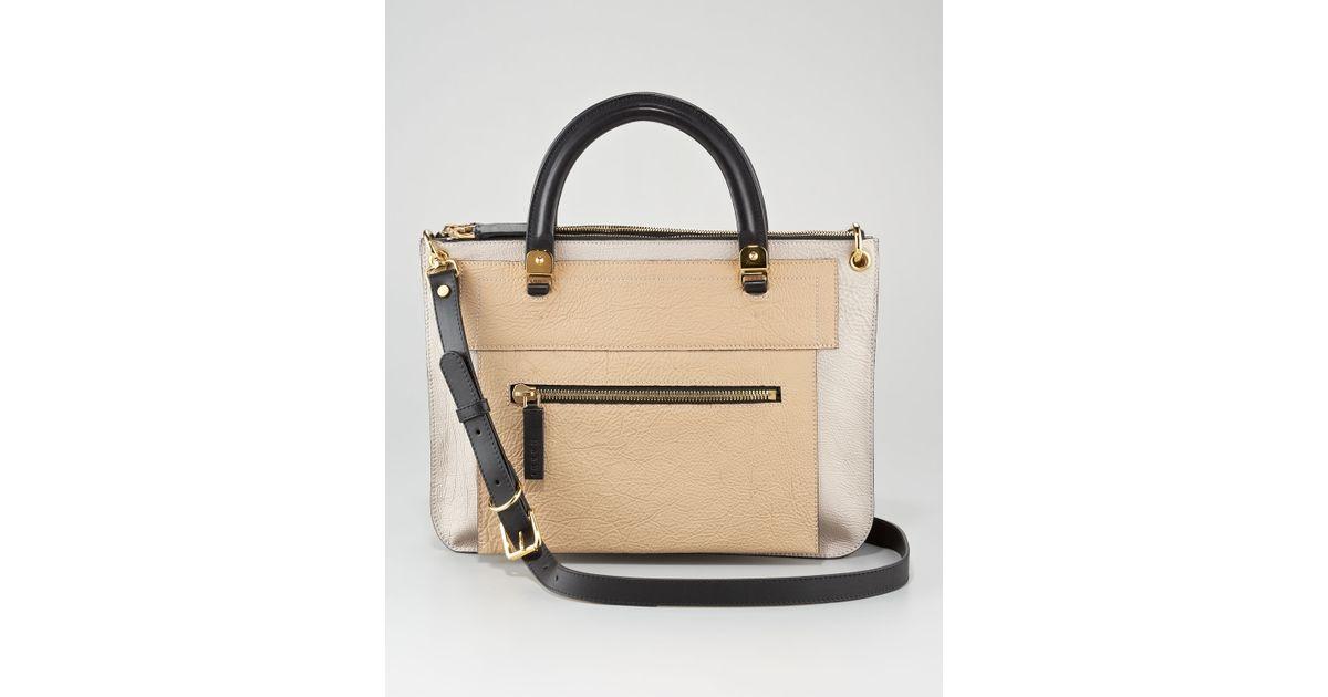 Marni Colorblock Dual Flat Satchel Bag in Natural | Lyst