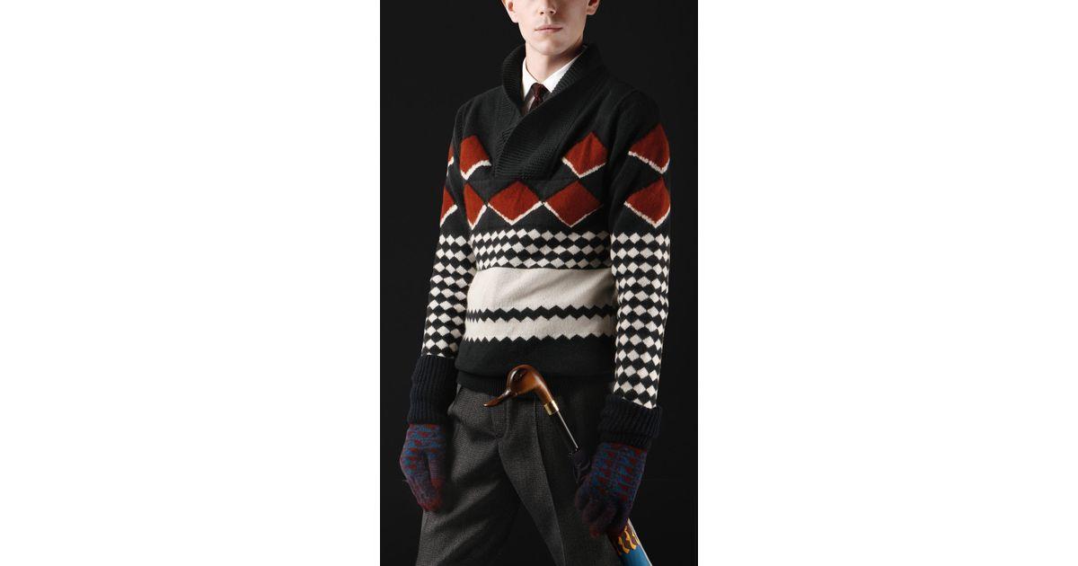 Burberry prorsum Fair Isle Shawl Collar Sweater for Men | Lyst