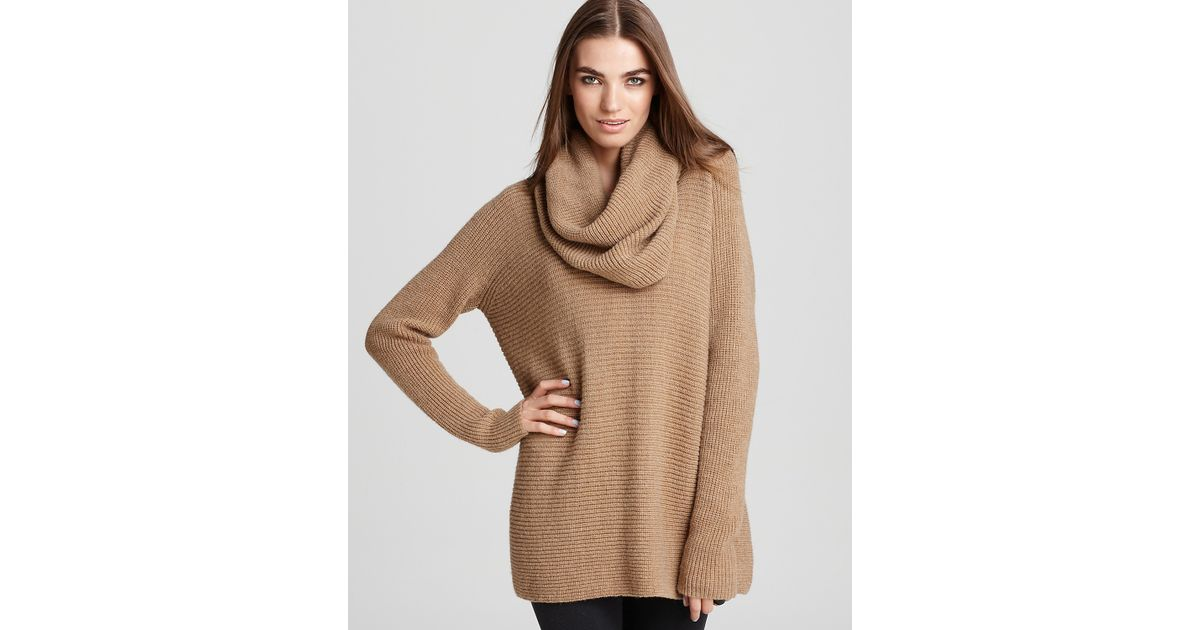 Vince Sweater Horizontal Rib Cowl Neck in Brown | Lyst