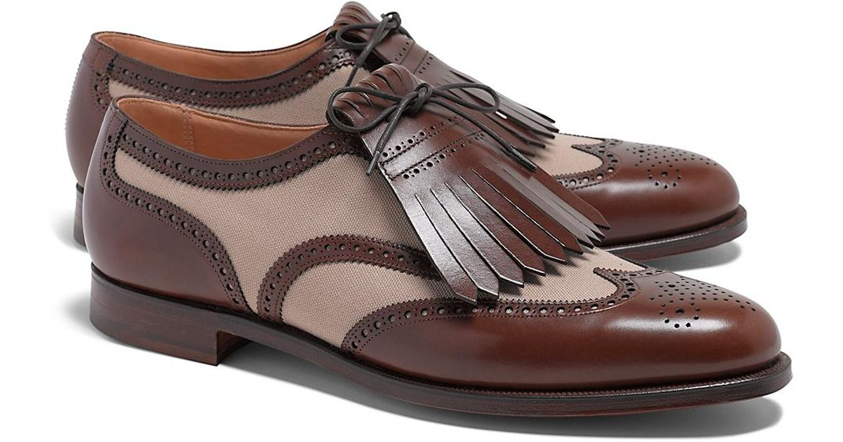 Brooks Brothers Peal And Co Leather And Canvas Wingtip