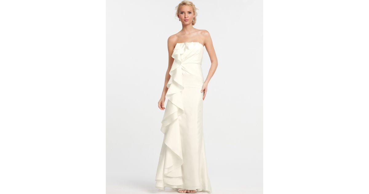 Ann taylor silk dupioni cascade ruffle wedding dress in white lyst junglespirit Images