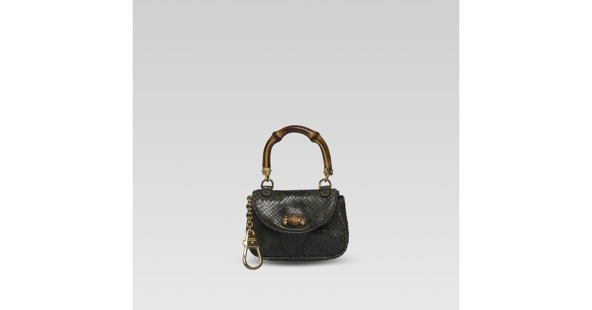 eb7ea3c97010 Gucci Mini Handbag Coin Purse with Clip and Bamboo Detail in Black - Lyst