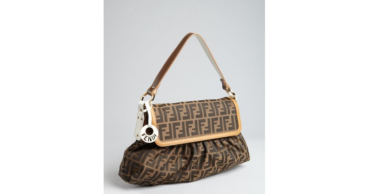 ec53d1507842 ... where to buy lyst fendi tobacco and white zucca canvas chef shoulder  bag in brown 91ced