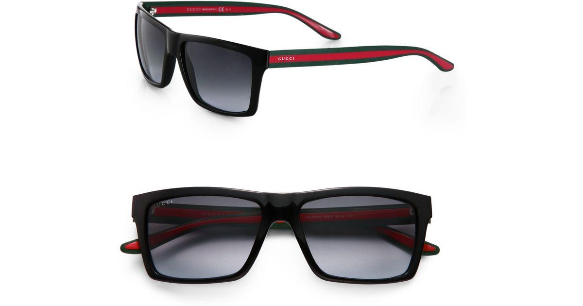 a26fc1a5f65 Lyst - Gucci Web Stripe Sunglasses in Black for Men