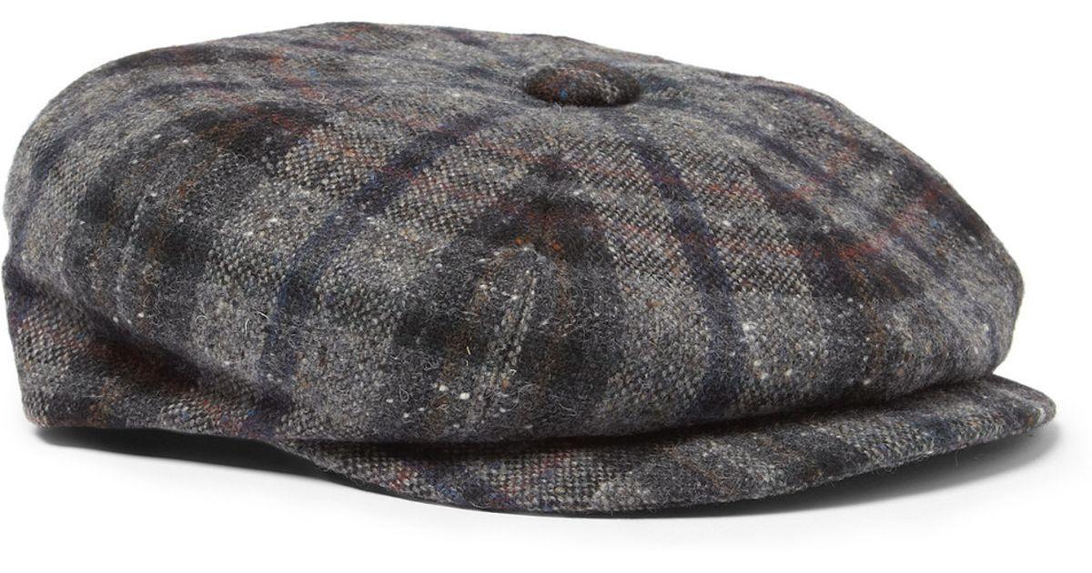 Lyst - Lock   Co. Plaid Harris Tweed Flat Cap in Blue for Men 6540dbdf6a8