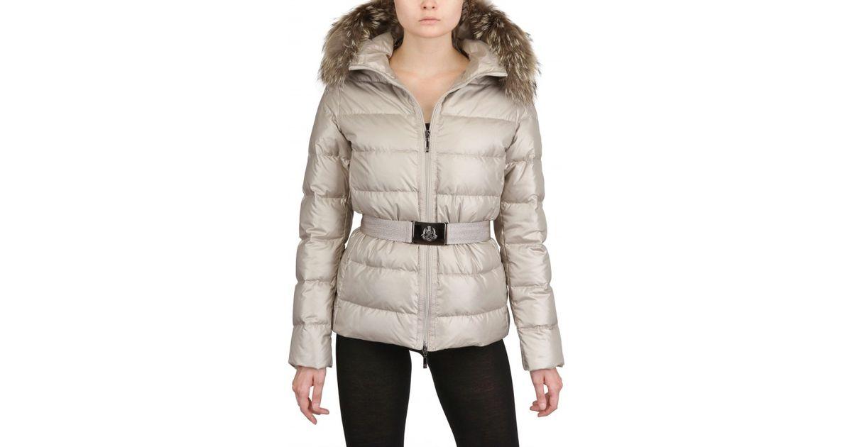 eee249284 Moncler Natural Angers Fur Hood Belted Matt Nylon Jacket
