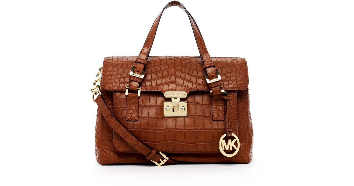 Lyst - MICHAEL Michael Kors Gosford Large Crocodile Embossed Leather Satchel  in Brown 27d98cdda2ff1