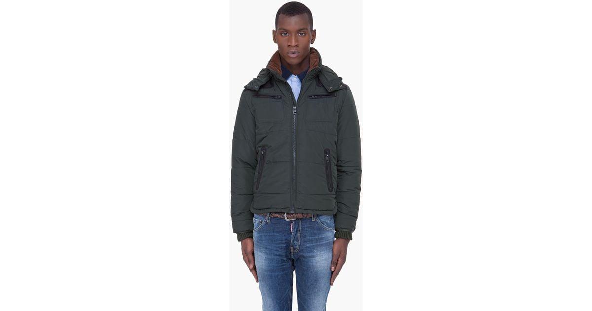 6b93d4ad4 DIESEL Dark Green Hooded Wiley Jacket for men
