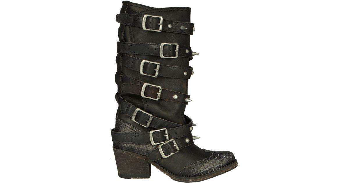 c52b6c5c54c AllSaints Black Cowboy Stud Boot