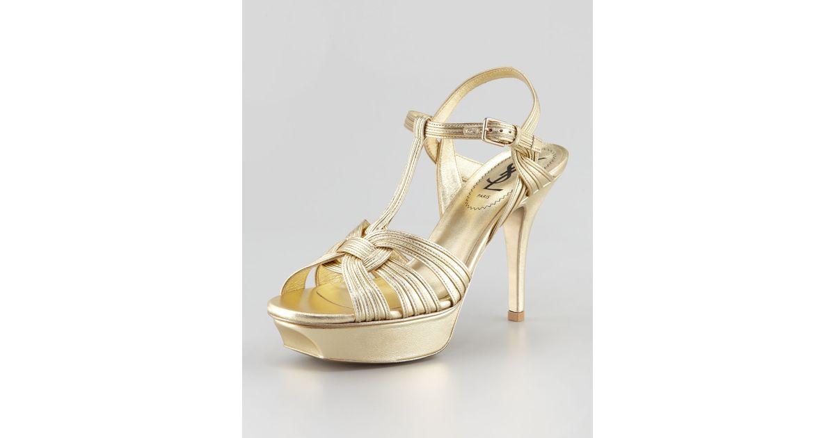 5428b7ea Saint Laurent Tribute Metallic Sandal 4 Heel