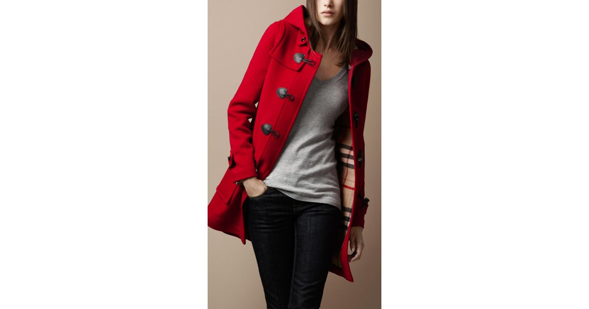 Burberry brit Check Lined Duffle Coat in Red | Lyst