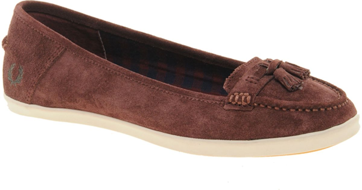fec026859ae Lyst - Fred Perry Betty Suede Tassel Flat Shoes in Blue
