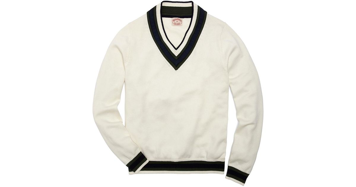 Brooks brothers Cotton and Wool Cricket Sweater in White for Men ...