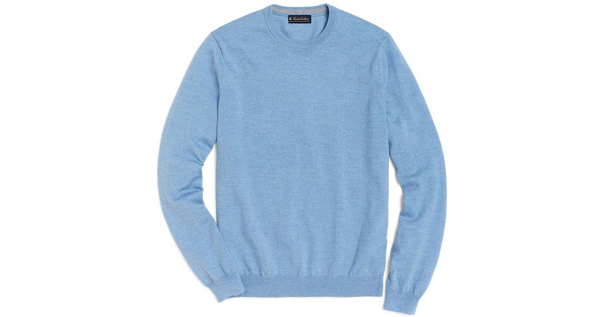 Brooks brothers Merino Crewneck Sweater in Blue for Men | Lyst