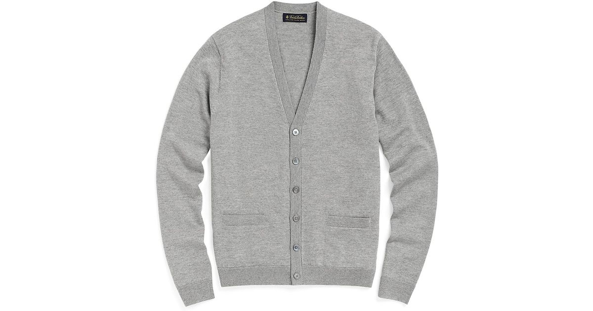 Brooks Brothers Merino Button Down Cardigan In Gray For