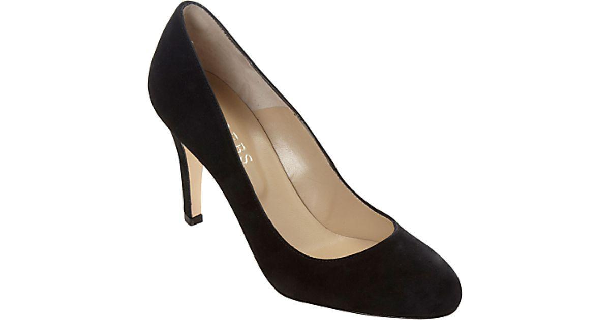 70edb232b0c Hobbs Rebecca Suede Almond Toe Court Shoes Black in Black - Lyst