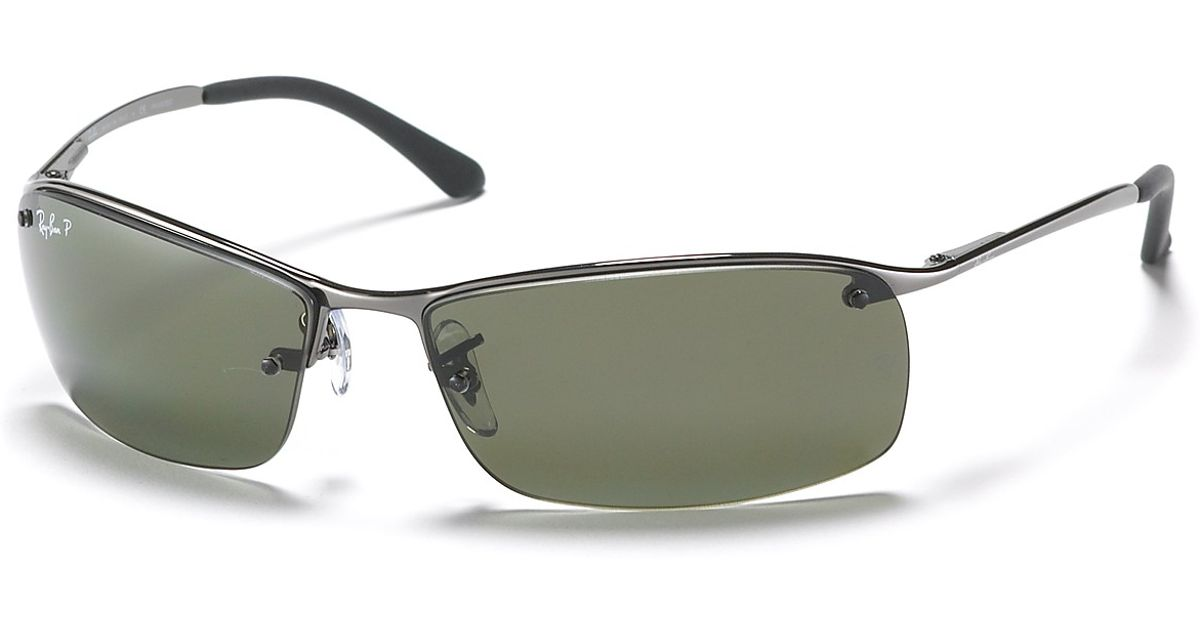 Rimless Sunglasses Ray Ban  ray ban rimless bottom polarized sunglasses in gray for men lyst