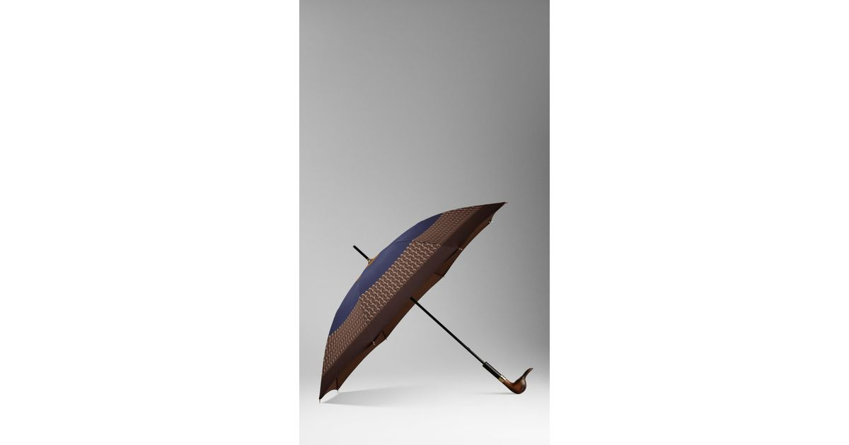 Burberry Duck Handle Striped Walking Umbrella In Brown Lyst