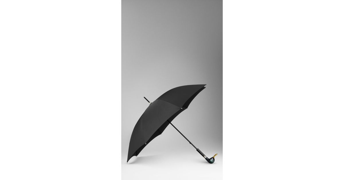 Burberry Duck Handle Walking Umbrella In Dark Racing Green